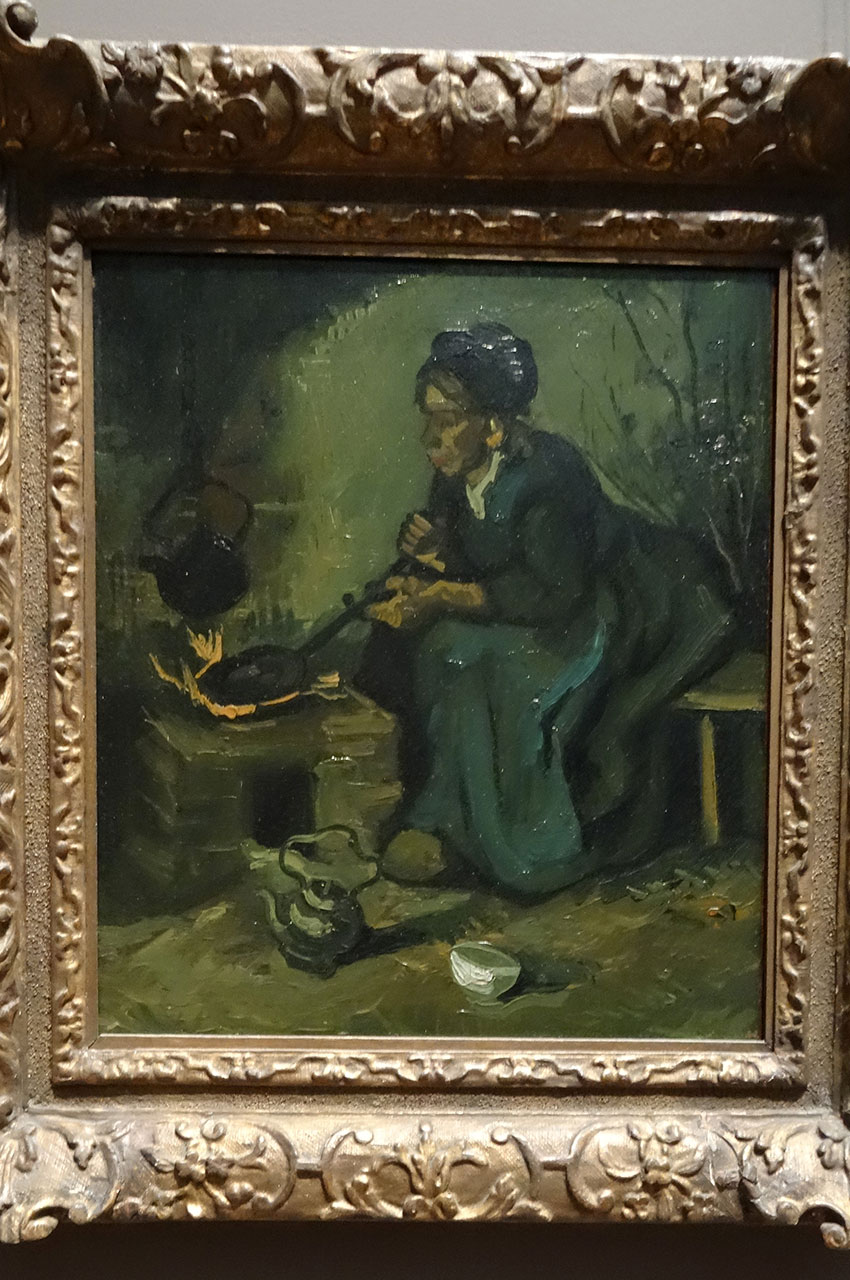 Peasant Woman Cooking by a Fireplace de Vincent Van Gogh