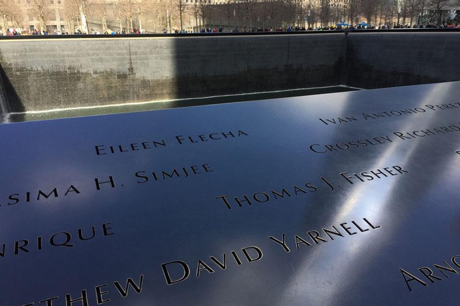Les noms des victimes au Mémorial du 11/09