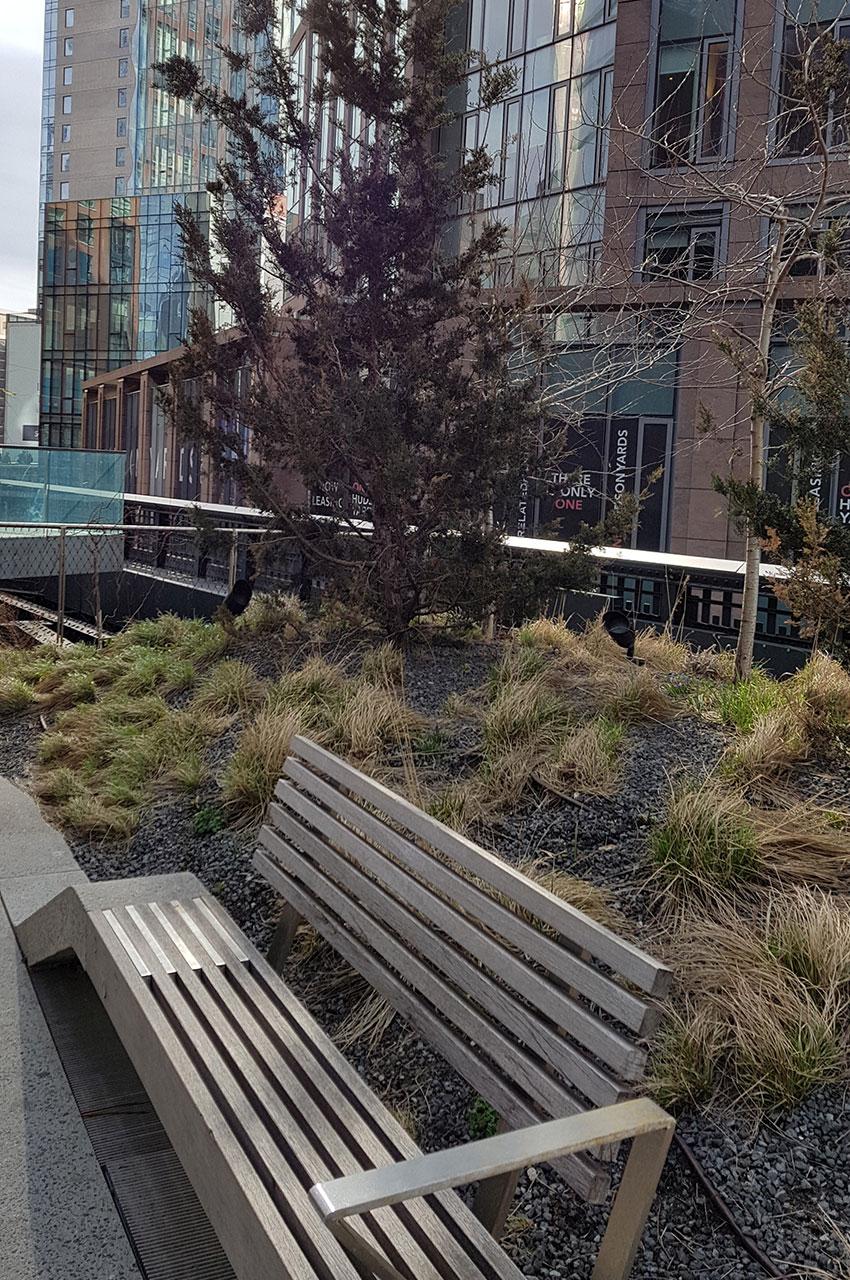 Des bancs permettent de se reposer sur la High Line