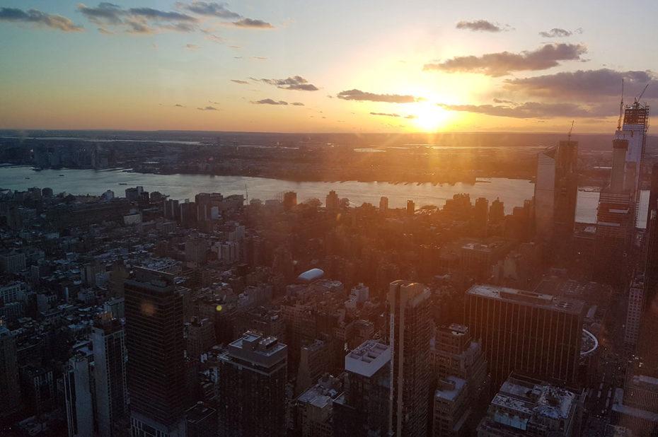 Coucher de soleil sur Manhattan et l'Hudson river