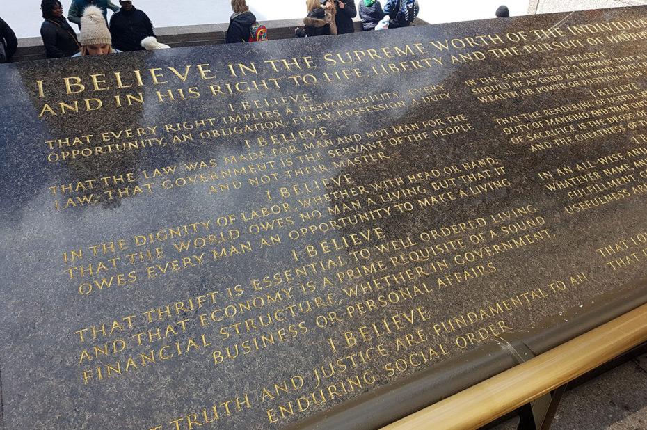 """Le credo de John D. Rockefeller Jr - """"I believe..."""""""