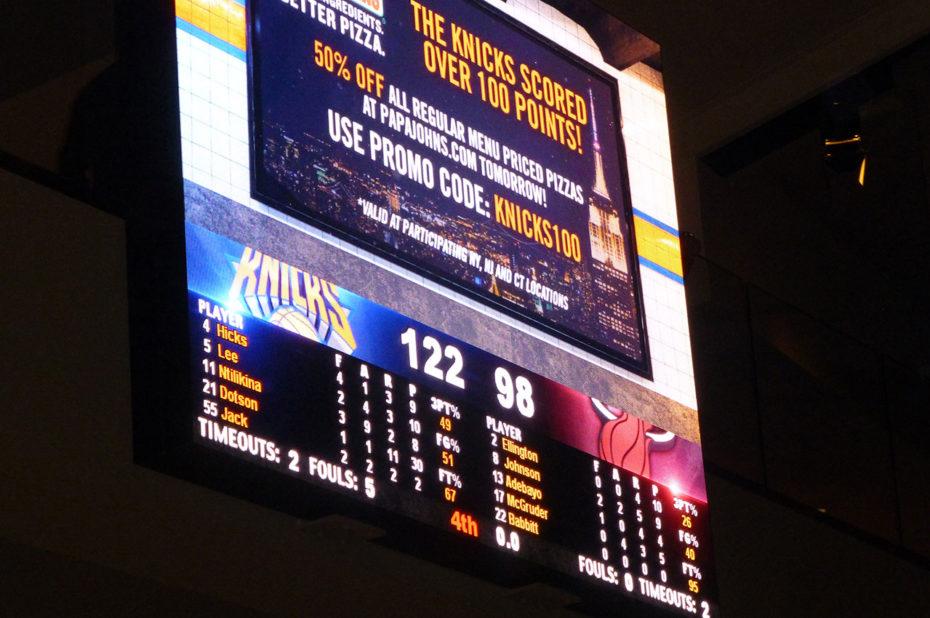 Victoire des Knicks par un score de 122 à 98