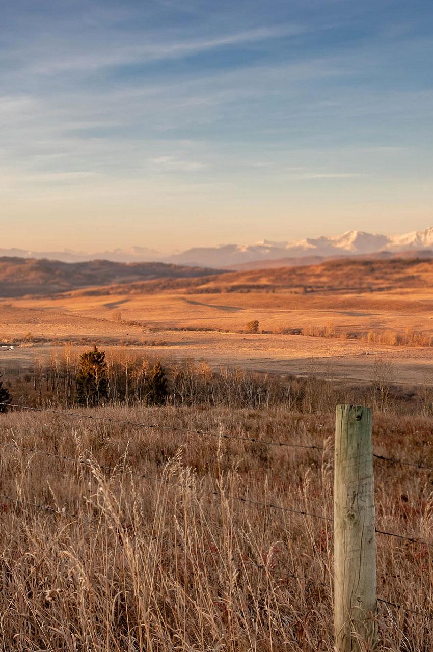 Les Montagnes Rocheuses surveillent les plaines de l'Alberta
