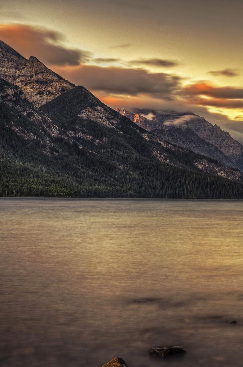 Coucher de soleil sur Waterton Lake