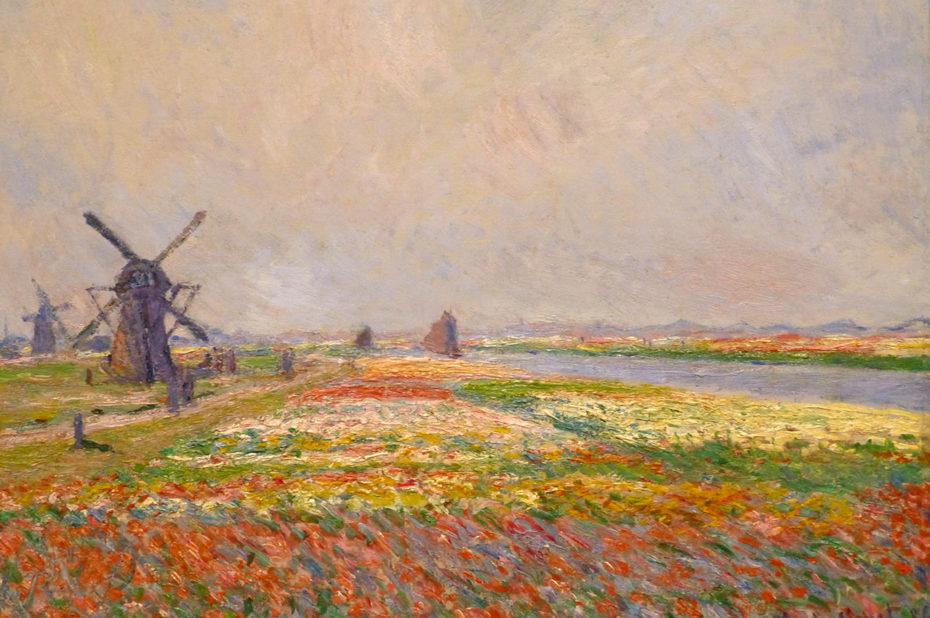 Champs de tulipes et moulins près de Rijnsburg de Claude Monet