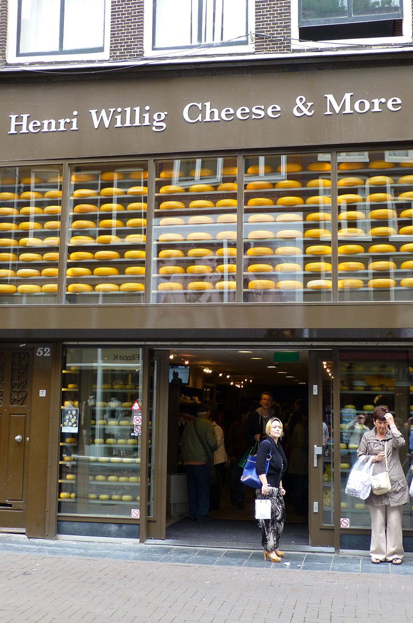 Boutique de fromages, l'une des spécialités des Pays-Bas