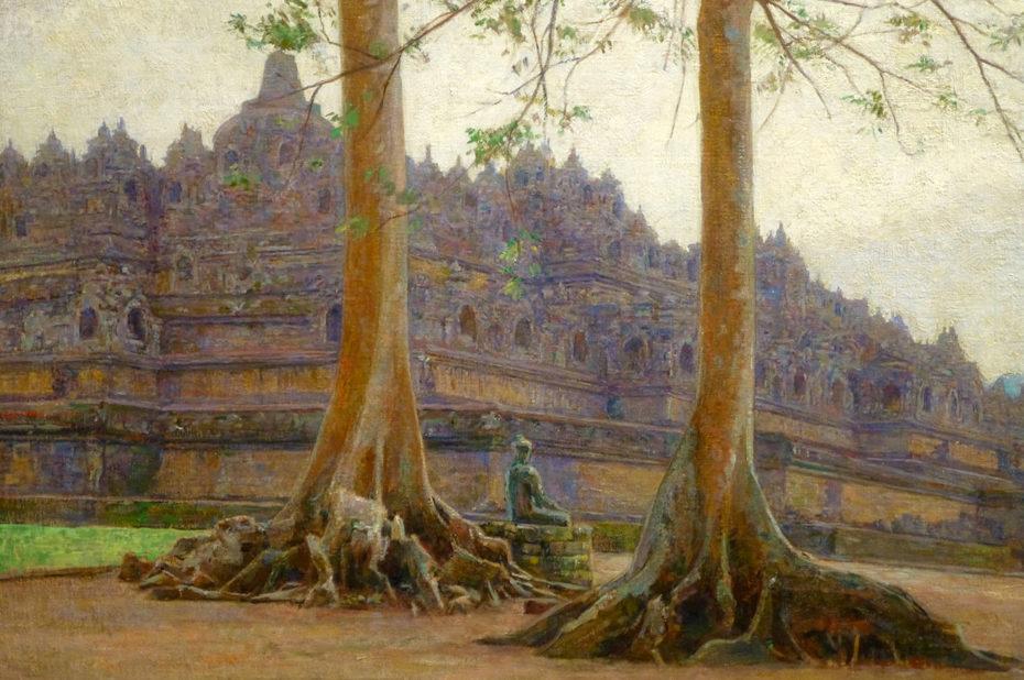 Représentation du temple bouddhiste Borobudur en Indonésie