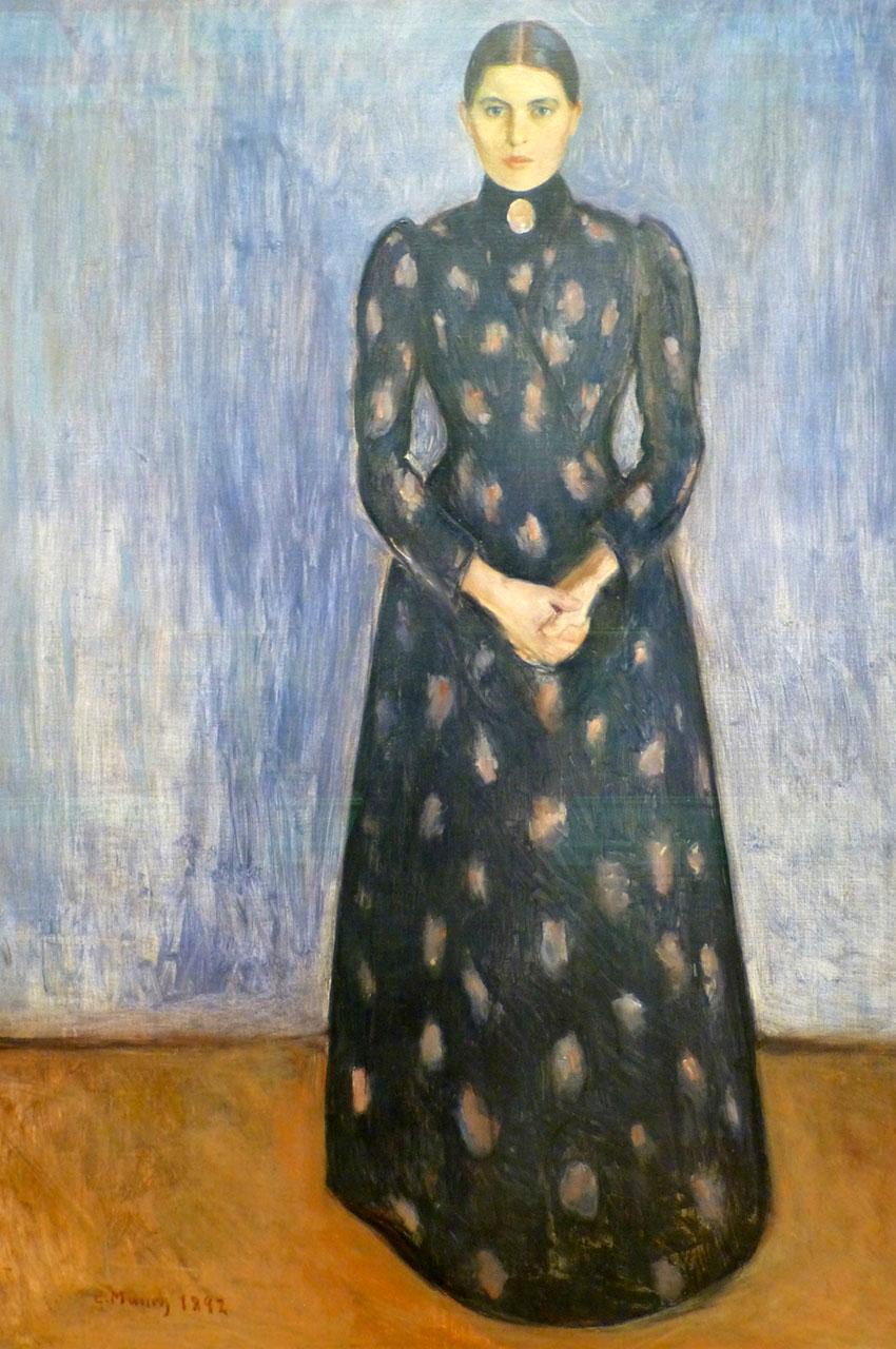 Inger en noir et violet, peinture de Edvard Munch