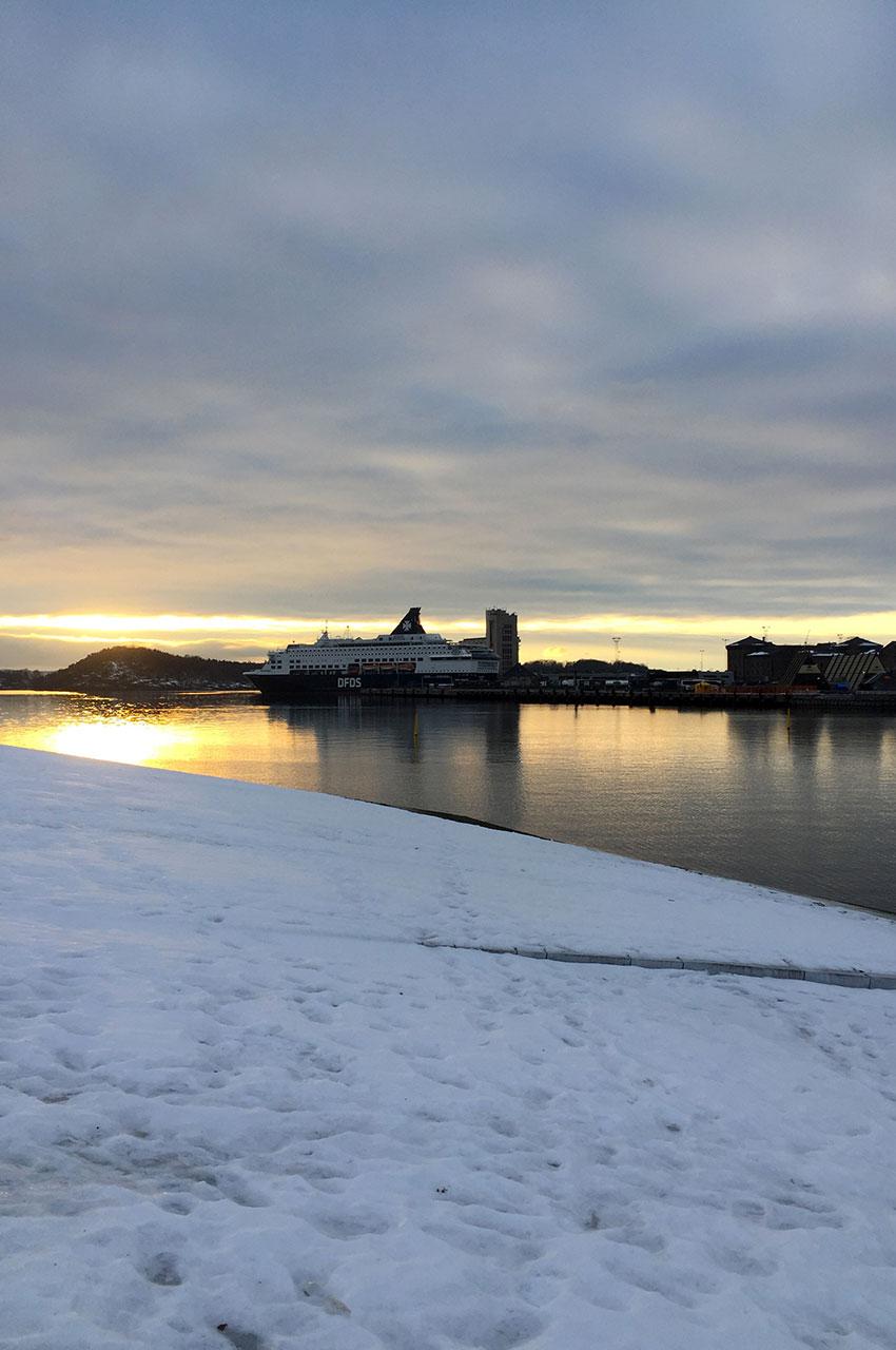 Peu de neige au bord du fjord en décembre