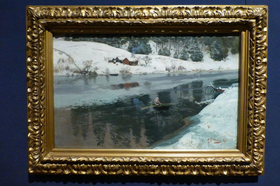 Winter at the river Simoa, de Frits Thaulow