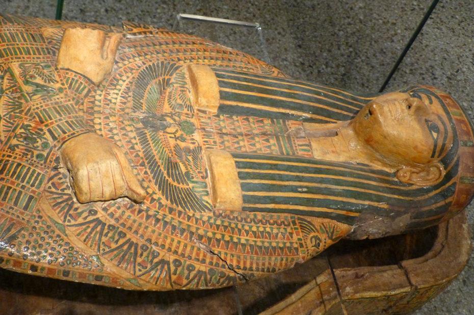 Détail d'un sarcophage trouvé à Deir el-Bahri, près de Louxor
