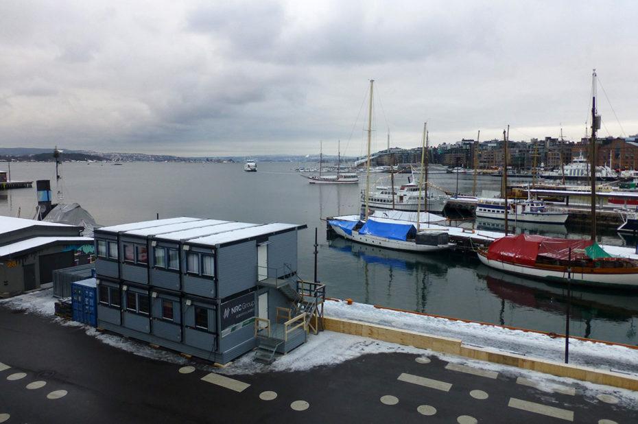 Ciel gris sur le port d'Aker Brygge