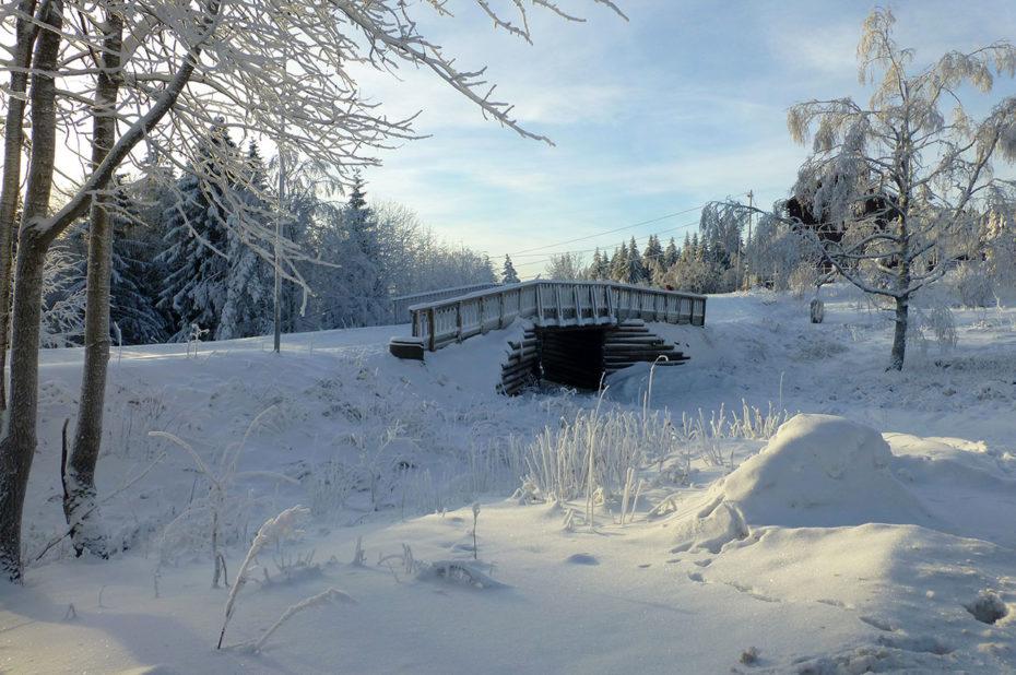 Petit pont de bois dans la neige à Forgnerseteren