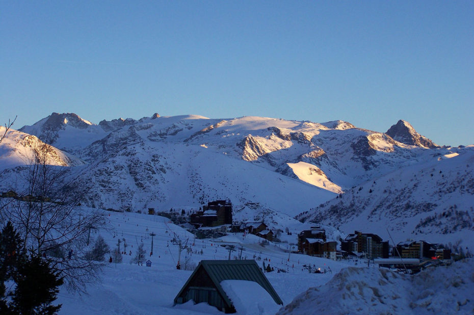 Soleil couchant sur les 2 Alpes depuis l'Alpe d'Huez