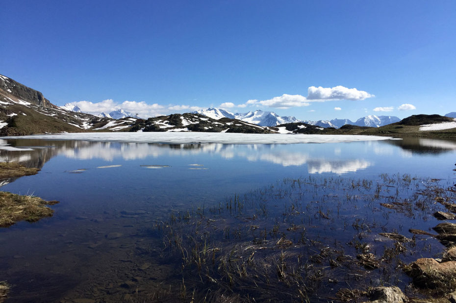 Le massif des Écrins derrière le Lac Faucille au premier plan