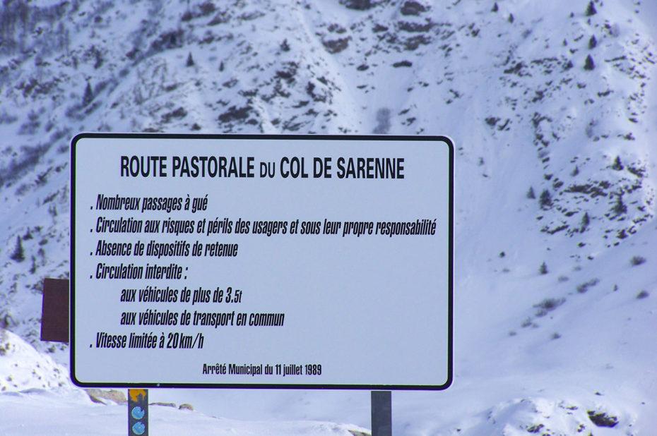Panneau de la route pastorale du Col de Sarenne