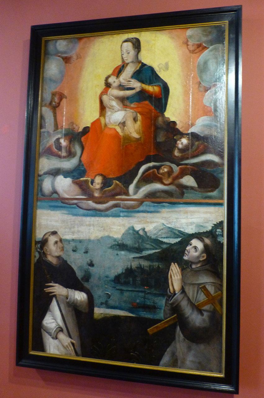 Notre Dame allaitant, peinture sur bois