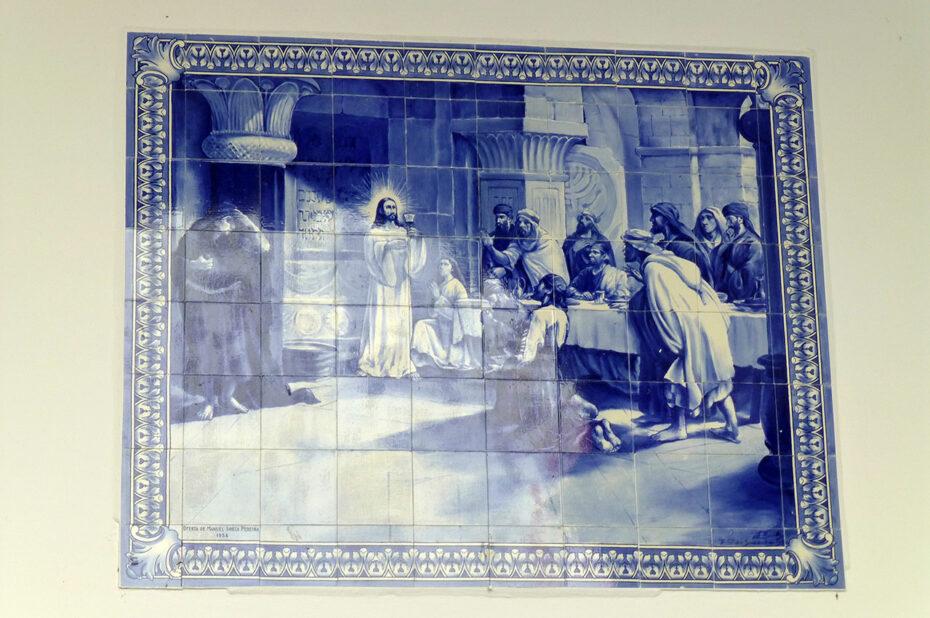 Azulejo représentant La Cène, le dernier repas du Christ