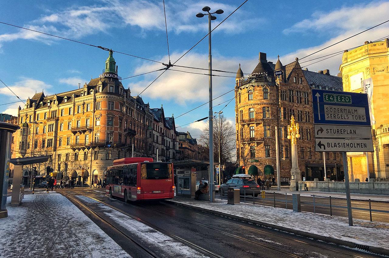 Dans les rues d'Östermalm en hiver